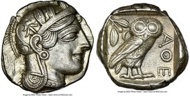 ATTICA. Athens. Ca. 440-404 BC. AR tetradrachm (24mm, 17.17 gm, 1h). NGC AU 5/5 - 5/5. Mid-mass coinage issue. Head of Athena right, wearing crested A...