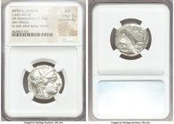 ATTICA. Athens. Ca. 440-404 BC. AR tetradrachm (23mm, 17.20 gm, 3h). NGC AU 5/5 - 4/5. Mid-mass coinage issue. Head of Athena right, wearing crested A...
