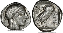 ATTICA. Athens. Ca. 440-404 BC. AR tetradrachm (25mm, 17.21 gm, 10h). NGC AU 5/5 - 4/5. Mid-mass coinage issue. Head of Athena right, wearing crested ...