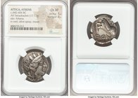 ATTICA. Athens. Ca. 440-404 BC. AR tetradrachm (24mm, 17.17 gm, 9h). NGC Choice XF 5/5 - 4/5. Mid-mass coinage issue. Head of Athena right, wearing cr...