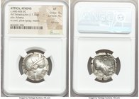 ATTICA. Athens. Ca. 440-404 BC. AR tetradrachm (23mm, 17.15 gm, 9h). NGC XF 4/5 - 4/5, Full Crest. Mid-mass coinage issue. Head of Athena right, weari...