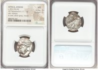 ATTICA. Athens. Ca. 393-294 BC. AR tetradrachm (19mm, 17.11 gm, 8h). NGC MS 4/5 - 3/5. Head of Athena right, wearing Attic helmet ornamented with thre...