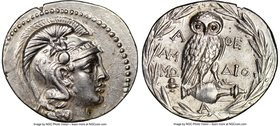 ATTICA. Athens. Ca. 2nd-1st centuries BC. AR tetradrachm (34mm, 16.94 gm, 12h). NGC XF 4/5 - 3/5, brushed, die shift. New Style coinage, ca. 148/7 BC,...