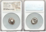 SARONIC ISLANDS. Aegina. Ca. 525-480 BC. AR stater (17mm, 11.90 gm). NGC Choice VF 4/5 - 3/5, countermark. Sea turtle with smooth shell and thin colla...