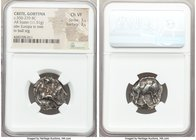 CRETE. Gortyna. Ca. 350-270 BC. AR stater (20mm, 11.51 gm, 12h). NGC Choice VF 3/5 - 3/5. Europa, nude to waist, seated facing in tree, raising veil w...