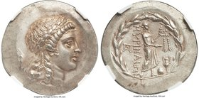 AEOLIS. Myrina. Ca. mid-2nd century BC. AR tetradrachm (33mm, 17.03 gm, 12h). NGC Choice AU 5/5 - 4/5. Laureate head of Apollo right, hair falling in ...