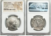 AEOLIS. Myrina. Ca. mid-2nd century BC. AR tetradrachm (32mm, 16.30 gm, 11h). NGC Choice AU 5/5 - 3/5. Laureate head of Apollo right / MYPINAIΩN, Apol...