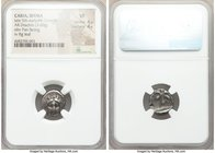 CARIA. Idyma. Late 5th-early 4th centuries BC. AR drachm (13mm, 3.60 gm, 6h). NGC VF 4/5 - 4/5. Facing head of Pan / I-Δ-Y-M-I-O-N, fig leaf within in...