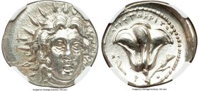 CARIAN ISLANDS. Rhodes. Ca. 250-200 BC. AR didrachm (22mm, 6.79 gm, 12h). NGC MS 4/5 - 4/5. Aristocritus, magistrate. Radiate head of Helios facing sl...