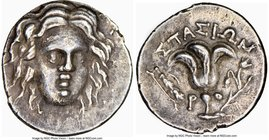 CARIAN ISLANDS. Rhodes. Ca. 205-190 BC. AR drachm (16mm, 2.62 gm, 5h). NGC Choice XF 5/5 - 4/5. Stasion, magistrate. Head of Helios facing, turned sli...