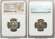 PAMPHYLIA. Aspendus. Ca. 325-250 BC. AR stater (23mm, 10.41 gm, 11h). NGC AU S 5/5 - 4/5. Two wrestlers grappling; E between / ΕΣΤFΕΔΙΥ, slinger stand...