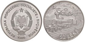 "ALBANIA Repubblica - 50 Leke 1986 Essai – Palladio RRR In slab PCGS SP69 ""Train essai Pd""