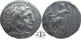 KINGS of MACEDON. Alexander III 'the Great'. 336-323 BC. AR Drachm  Kolophon mint'. Struck circa 310-301 BC.  Head of Herakles right, wearing lion ski...