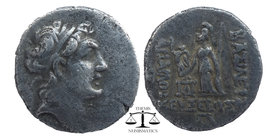 KINGDOM of CAPPADOCIA. Ariarathes IV Eusebes, 220-163 BC. AR Drachm  Diademed head / Athena standing holding Nike, spear and shield. Sim.25v.  4,05 gr...