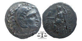 "Kings of Macedon. Kolophon. Alexander III ""the Great"" 336-323 BC. Drachm AR Head of Herakles to right with lionskin headdress / ΑΛΕΞΑΝΔΡΟΥ, Zeus seate..."