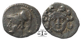 CILICIA, Uncertain mint. Circa 4th century BC. AR Obol  Facing Gorgoneion / Helmeted and draped bust of Athena left. SNG France 477; BMC Lycaonia -; S...