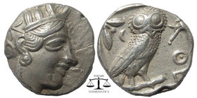 ATTICA, Athens. 449-393 BC. AR Tetradrachm Helmeted head of Athena right / Owl standing right, head facing; olive sprig and crescent behind SNG Copenh...