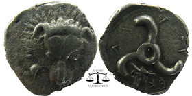 Dynasts of Lycia. Perikles (c. 380-360 BC). AR 1/3 Stater Obv. Facing lion's scalp Rev. 'Perikles' in Lycian; triskeles; to left, laureate and draped ...