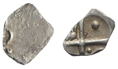 Celtic, Southern Gaul. Cadurci, c. 200-118 BC. AR Drachm (12mm, 2.29g). Stylized head(?) off-centre. R/ Cross; pellets and ax in quarters. Cf. LT 3263...