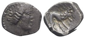 Celtic. Southern Gaul. Insubres, 2nd century BC. AR Drachm (13mm, 2.42g, 6h). Imitating Massalia. Wreathed head of female r. R/ Lion standing r. BMC 3...
