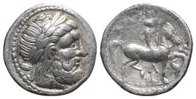 Celtic, Eastern Europe, imitating Philip II of Macedon, c. 3rd century BC. AR Tetradrachm (25mm, 14.19g, 11h). Laureate head of Zeus r. R/ Rider on ho...