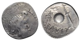 Celtic, Eastern Europe, Eravisci , late 1st century BC. AR Denarius (19mm, 3.35g, 6h). Head of Genius Populi Romani r. R/ Globe, rudder and thunderbol...