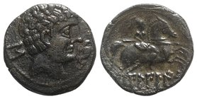 Spain, Bilbilis, late 2nd-early 1st century BC. Æ As (26.5mm, 12.28g, 6h). Bare male head r.; Iberian s behind; before, dolphin upward. R/ Warrior, ho...