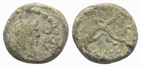 Gaul, Massalia, after 49 BC. Æ (10.5mm, 2.32g). Laureate head of Apollo r. R/ Dolphin(?) l. Cf. Depeyrot 69. Green patina, Good Fine