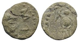 Gaul, Massalia, after 49 BC. Æ (10mm, 1.84g, 9h). Helmeted head of Minerva r. R/ Trophy. Depeyrot 77. Green patina, near VF
