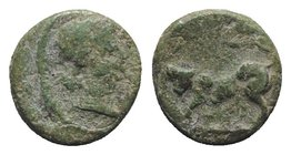 Gaul, Massalia, after 49 BC. Æ (11mm, 2.16g, 12h). Head r. R/ Lion(?) l. Cf. Depeyrot 81. Green patina, near VF