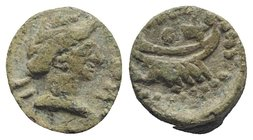 Gaul, Massalia, after 49 BC. Æ (10.5mm, 2.26g, 12h). Laureate head r. R/ Galley. Cf. Depeyrot 83. Green patina, VF