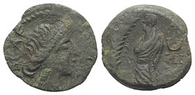 Gaul, Southern. Volcae-Arecomici, c. 77-44 BC. Æ (14mm, 1.95g, 12h). Diademed head of Artemis r. R/ Togate male figure standing l.; palm to l. BMC 215...