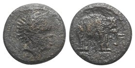 Etruria, Uncertain inland mint, c. 300-250 BC. Æ (18mm, 4.99g, 6h). African head r. R/ Elephant standing r.; Etruscan V below. Vicari 234; HNItaly 69;...