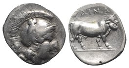 Southern Campania, Hyria, c. 405-395 BC. AR Didrachm (20mm, 5.85g, 3h). Helmeted head of Athena r., owl on helmet. R/ Man-headed bull standing r. Rutt...