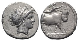 Southern Campania, Neapolis, c. 320-300 BC. AR Didrachm (20mm, 7.48g, 12h). Head of nymph r.; uncertain symbol behind. R/ Man-headed bull walking r.; ...