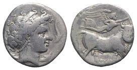 Southern Campania, Neapolis, c. 300 BC. AR Didrachm (20mm, 7.12g, 12h). Diademed head of nymph r.; four dolphins around. R/ Man-headed bull walking r....