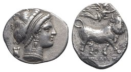 Southern Campania, Neapolis, c. 300-275 BC. AR Didrachm (19mm, 7.12g, 9h). Head of nymph r.; astragalos behind. R/ Man-headed bull standing r., head f...