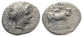 Southern Campania, Neapolis, 300-275 BC. AR Didrachm (19.5mm, 5.32g, 6h). Head of nymph r.; behind, Artemis running r. R/ Man-headed bull walking r.; ...