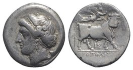 Southern Campania, Neapolis, c. 275-250 BC. AR Didrachm (20mm, 7.04g, 6h). Head of nymph l.; herm behind. R/ Man-headed bull standing r., crowned by N...