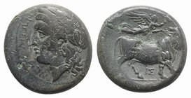 Southern Campania, Neapolis, c. 270-250 BC. Æ (19mm, 5.91g, 3h). Laureate head of Apollo l. R/ Man-headed bull standing r., being crowned by Nike who ...
