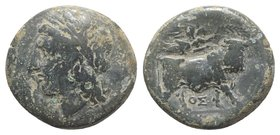 Southern Campania, Neapolis, c. 270-250 BC. Æ (20mm, 5.78g, 12h). Laureate head of Apollo l.; Θ behind. R/ Man-headed bull standing r., being crowned ...