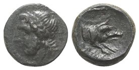 Northern Apulia, Arpi, c. 325-275 BC. Æ (14mm, 3.41g, 6h). Laureate head of Zeus l.; thunderbolt behind. R/ Forepart of boar r., spear above. HNItaly ...