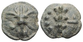 Northern Apulia, Luceria, c. 217-212 BC. Cast Æ Quatrunx (30mm, 28.03g). Thunderbolt on a raised disk. R/ Club; four pellets to r.; all on a raised di...