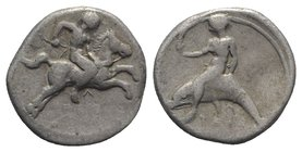Southern Apulia, Tarentum, c. 400-390 BC. AR Nomos (20mm, 7.66g, 3h). Youth on horse galloping r; Λ below. R/ Phalanthos, holding torch, riding dolphi...