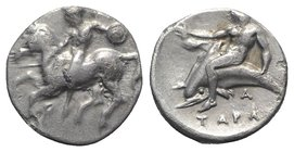 Southern Apulia, Tarentum, c. 380-375/0 BC. AR Nomos (19mm, 7.89g, 9h). Nude warrior, holding shield, on horse galloping l.; Π below. R/ Phalanthos, e...