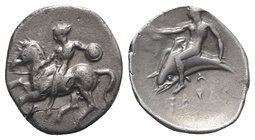 Southern Apulia, Tarentum, c. 380-375/0 BC. AR Nomos (23mm, 7.78g, 12h). Nude warrior, holding shield, on horse galloping l.; Π below. R/ Phalanthos, ...