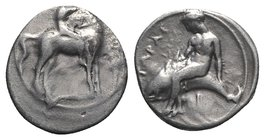 Southern Apulia, Tarentum, c. 385-380 BC. AR Nomos (20mm, 7.62g, 2h). Nude youth on horse standing r., raising r. hand to crown horse; kerykeion to r....