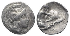 Southern Apulia, Tarentum, c. 380-325 BC. AR Diobol (11mm, 0.88g, 6h). Head of Athena r., wearing crested helmet decorated with Skylla. R/ Herakles kn...