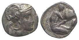 Southern Apulia, Tarentum, c. 380-325 BC. AR Diobol (10mm, 0.95g, 9h). Head of Athena r., wearing crested helmet decorated with Skylla. R/ Herakles kn...