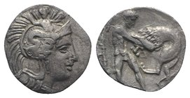 Southern Apulia, Tarentum, c. 380-325 BC. AR Diobol (10mm, 0.76g, 3h). Helmeted head of Athena r., helmet decorated with Skylla. R/ Herakles standing ...